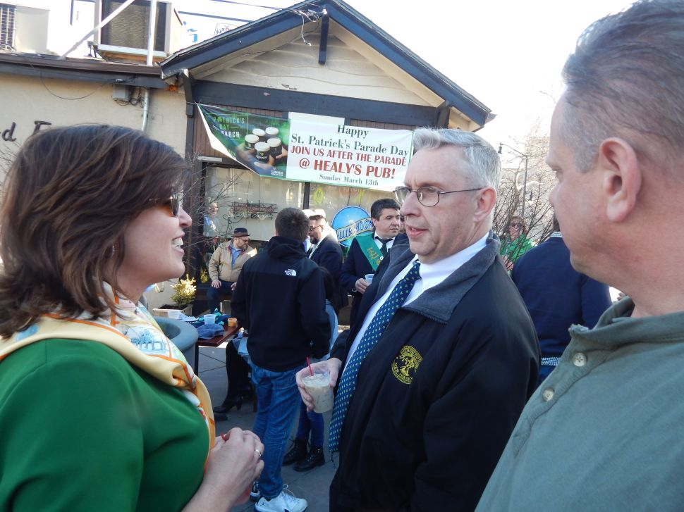 Politicking at Healy's Tavern on St. Patrick's Day in Jersey City