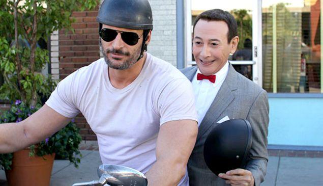 Joe Manganiello and Paul Reubens in Pee-Wee's Big Holiday.