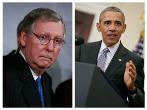 Mitch McConnell (R) and President Barack Obama (L).