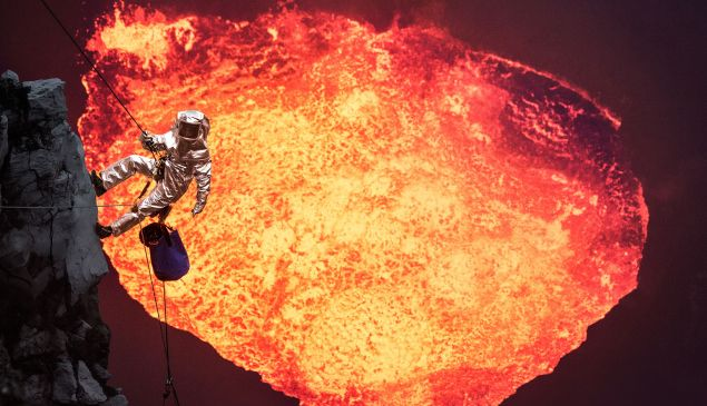 Images of lava captured via drone.