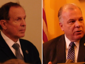 Lesniak (left) and Sweeney disagree about how to proceed with Kean investigation.