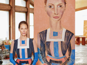 Christy Turlington and her portrait, painted by Francesco Clemente.