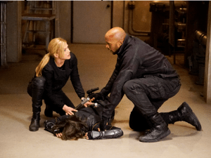 Adrianne Palicki as Bobbi and Henry Simmons as Mack.
