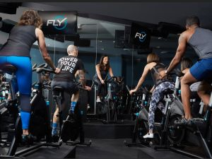Flywheel's stadium seating allows everyone to see the instructor, even if they're not in the front row