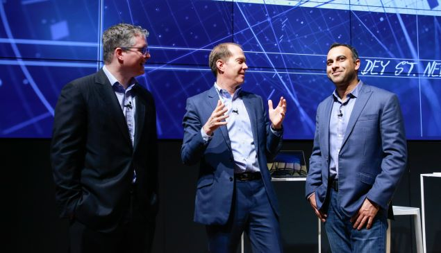 Chris Cox of Microsoft(left), Gary Riding of Samsung (center) and Navin Shenoy of Intel (right).