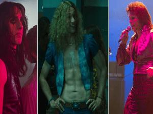 (L-R) Dustin Ingram as Alice Cooper, Zebedee Row as Robert Plant, and Noah Bean as David Bowie.