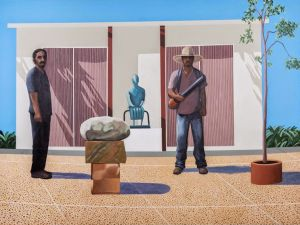 Ramiro Gomez, American Gardeners (After David Hockney's American Collectors, Fred and Marcia Weisman 1968), (2014).