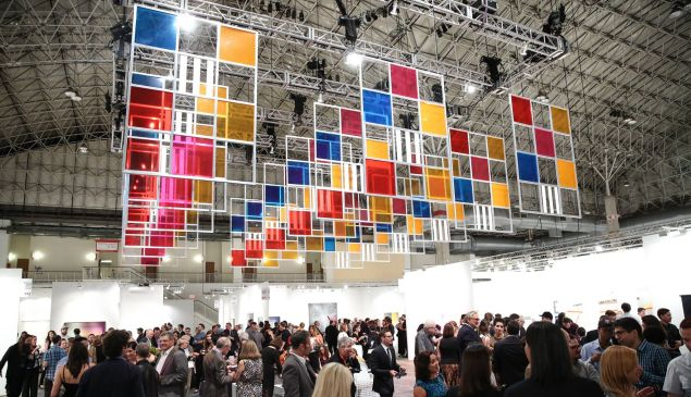 """Daniel Buren, """"From three windows, 5 colours for 252 places,"""" work in situ, 2006, Courtesy of the artist and Lisson Gallery, London, part of the IN/SITU program at EXPO CHICAGO/2015 curated by Louis Grachos."""