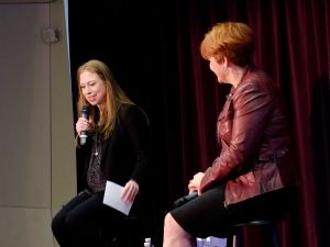 Chelsea Clinton speaks at the LGBT Community Center in Manhattan alongside former Council Speaker Christine Quinn