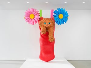 "An installation view of Jeff Koons's Cat on a Clothesline (Red), 1994-2001, in ""Cecily Brown, Jeff Koons, Charles Ray"" at The Flag Art Foundation, 2016."