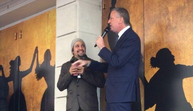 Lin-Manuel Miranda and Mayor Bill de Blasio at today's Ham4Ham show.