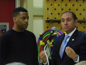Lopez (right) with one Bloomfield resident who said he was racially profiled by Bloomfield Police.