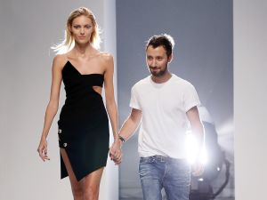 Fashion designer Anthony Vaccarello with model Anja Rubik