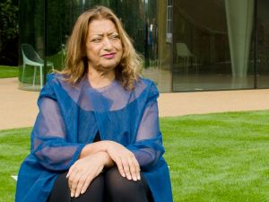 Zaha Hadid outside her design for an extension of the Serpentine Sackler Gallery in London on September 25, 2013.
