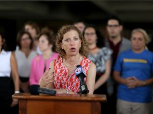Congresswoman Debbie Wasserman Schultz gives a speech in Fort Lauderdale, Fla., last year.