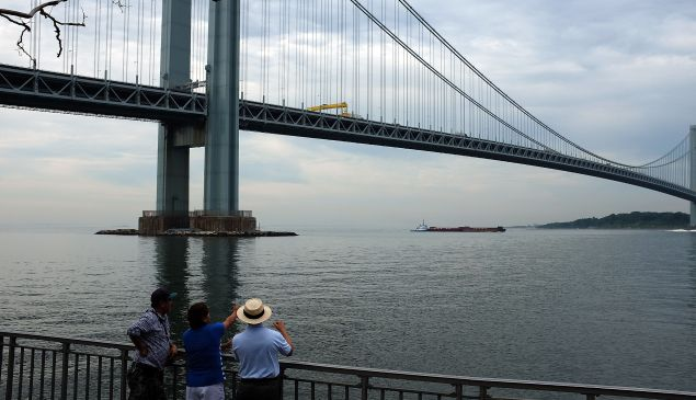 People on the Brooklyn side of the Verrazano Bridge stare out at Staten Island.