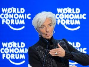 IMF Managing Director Christine Lagarde gestures during a session of the World Economic Forum annual meeting on January 23, 2016 in Davos.
