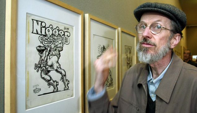 American cartoonist Robert Crumb shows one of his paintings at the Museum Ludwig in the western town of Cologne, 27 May 2004.