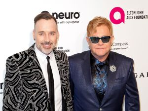 Sir Elton John and husband David Furnish arrive at the 2016 Elton John AIDS Foundation's Academy Awards Viewing Party in West Hollywood, Calif., in February.