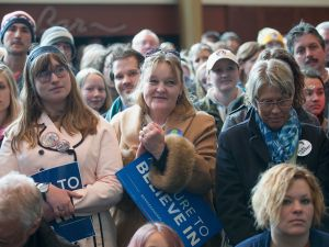 People wait for Democratic presidential candidate Senator Bernie Sanders (D-VT) at a campaign rally at the Grand Theater on April 3, 2016in Wausau, Wisconsin. Voters in Wisconsin go to the polls Tuesday for the state's primary.