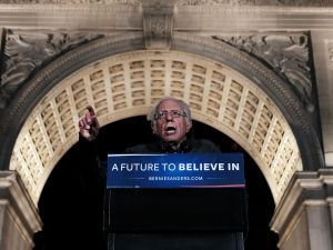 Sen. Bernie Sanders at a rally in Washington Square Park.