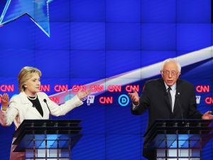 Democratic Presidential candidates Hillary Clinton and Sen. Bernie Sanders (D-VT) debate during the CNN Democratic Presidential Primary Debate at the Duggal Greenhouse in the Brooklyn Navy Yard on April 14, 2016 in New York City. The candidates are debating ahead of the New York primary to be held April 19.