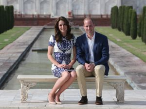 AGRA, INDIA - APRIL 16: Prince William, Duke of Cambridge and Catherine, Duchess of Cambridge sit in front of the Taj Mahal during day seven of the royal tour of India and Bhutan on April 16, 2016 in Agra, India. This is the last engagement of the Royal couple after a week long visit to India and Bhutan that has taken them in cities such as Mumbai, Delhi, Kaziranga, Thimphu and Agra.