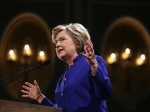Democratic presidential candidate, former U.S. Secretary of State Hillary Clinton speaks during a Get Out The Vote rally on April 18, 2016 in New York City. The Democratic and Republican primaries in New York are tomorrow.