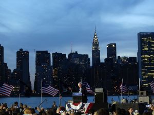 Democratic Presidential candidate Bernie Sanders speaks at a campaign rally on the eve of the New York primary, April 18, 2016 in the Queens borough of New York City.