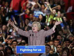 Hillary Clinton celebrating her win Tuesday night.