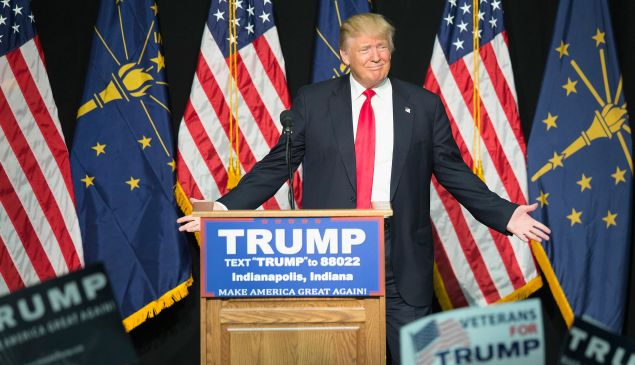 Republican presidential candidate Donald Trump speaks to guests and supporters during a rally at the Indiana State Fairgrounds on April 20, 2016 in Indianapolis, Indiana. There are 57 delegates at stake in Indianas May 3 primary.