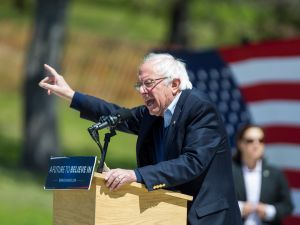 Democratic presidential candidate U.S. Sen. Bernie Sanders (D-VT) speaks during his rally at Roger Williams Park on April 24, 2016 in Providence, Rhode Island. The Rhode Island primary will be held on Tuesday, April 26.