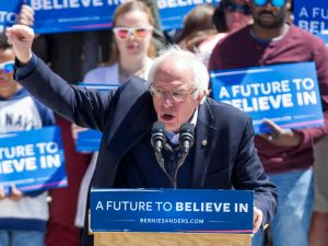 Sen. Bernie Sanders at a recent rally in Rhode Island.