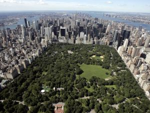 Aerial view of Manhattan looking south over Central Park. (Photo credit: Stan Honda/AFP/Getty Images)
