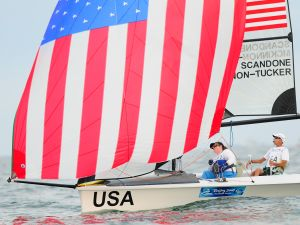 The USA team of Nick Scandone and Maureen Mckinnon-Tucker competes in the 2P Keelboat Sailing event at Qingdao Olympic Sailing Centre during day five of the 2008 Paralympic Games on September 11, 2008 in Qingdao, China.