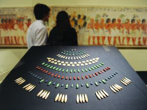 Floral pendants made of faience from the ancient Egyptian New Kingdom, at The Metropolitan Museum of Art in New York.