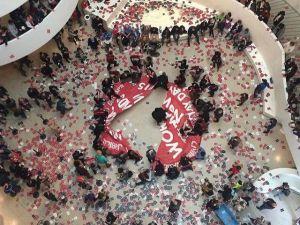 Protestors occupying the Guggenheim's Rotunda on May 1, 2015.