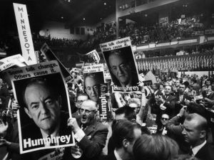 Delegates hold up HUMPHREY posters and signs at the Democratic National Convention, Chicago, Illinois on 28th August 1968. (Photo by Hulton Archive/Getty Images)