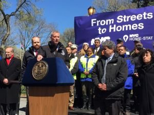 Mayor Bill de Blasio talks about homelessness in Tompkins Square Park.