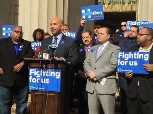 Bronx Borough President Ruben Diaz Jr. today, rallying for Hillary Clinton and knocking Ted Cruz.