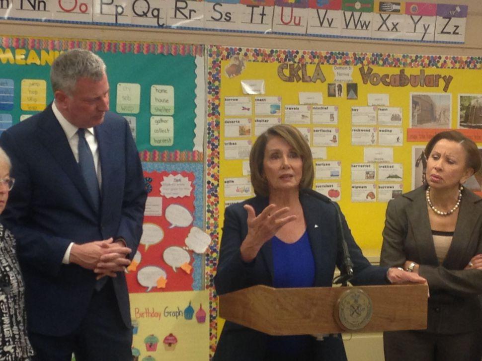 Nancy Pelosi Pitches National Universal Pre-K With Bill de Blasio