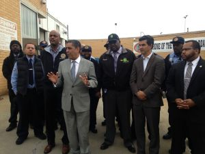 State Senator Adriano Espaillat accepts TWU endorsement alongside Councilman Ydanis Rodriguez and Assemblyman Victor Pichardo earlier this year.