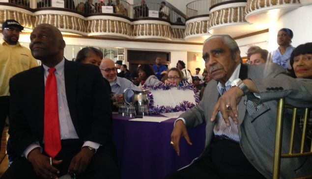 Former Assemblyman Keith Wright, left, with retired Congressman Charles Rangel.