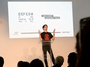 NEW YORK, NY - APRIL 25: Founder of DEFCON Jeff Moss ÔDark TangentÕ speaks at the DEFCON - Dark Tangent talk during the 2015 Tribeca Film Festival at Spring Studios on April 25, 2015 in New York City.
