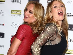 Sonja Morgan and Ramona Singer being besties at Beatique Real Housewives of New York premiere party.