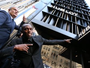 Ricardo Guadalupe, CEO of Hublot, and Usain Bolt at Hublot 5th Avenue Boutique Opening