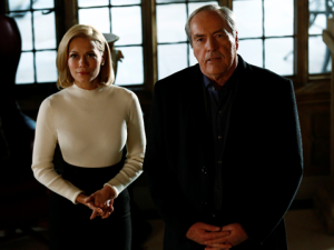 Bethany Joy Lenz as Stephanie Malick and Powers Boothe as Gideon Malick.