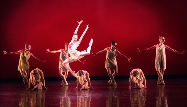 Nathalia Arja and Miami City Ballet dancers in Symphonic Dances at Lincoln Center's David H. Koch Theater.