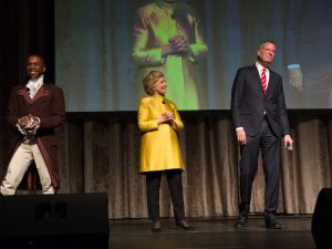 Hillary Clinton joins Mayor Bill de Blasio as surprise guest during the annual Inner Circle Show.