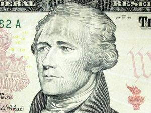 Alexander Hamilton's likeness on the ten dollar bill.